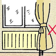 パネルヒーターとカーテン